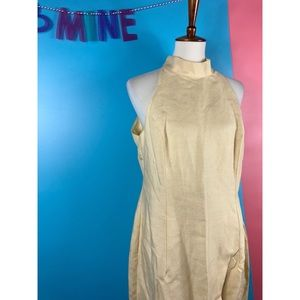 Vtg 90s Mock Neck Maxi Wiggle Dress 14
